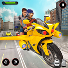 Real Flying Bike Taxi Simulator: Bike Driving Game