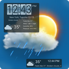 Weather forecast & transparent clock widget